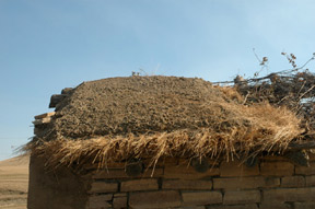 Hutmacher farmhouse roof during reconstruction