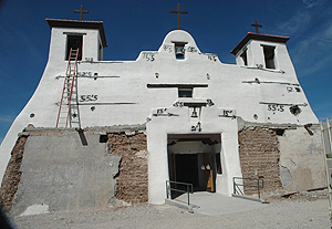 Isleta Pueblo Church, NM (ca. 1610) during restoration in 2010.