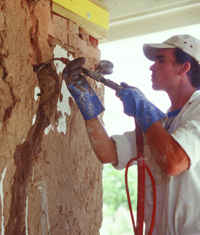 Grout injection at Los Luceros Hacienda, NM (ca. 1850) in 2000.